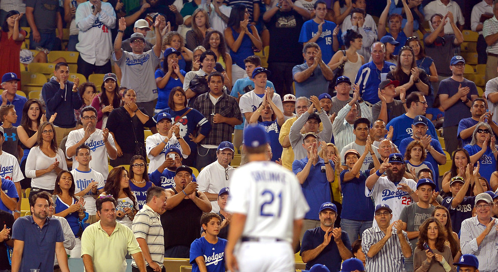 . Los Angeles Dodgers Zack Greinke leaves the game after going 8 2/3 innings on the mound against the Chicago Cubs August 26, 2013 in Los Angeles, CA.(Andy Holzman/Los Angeles Daily News)