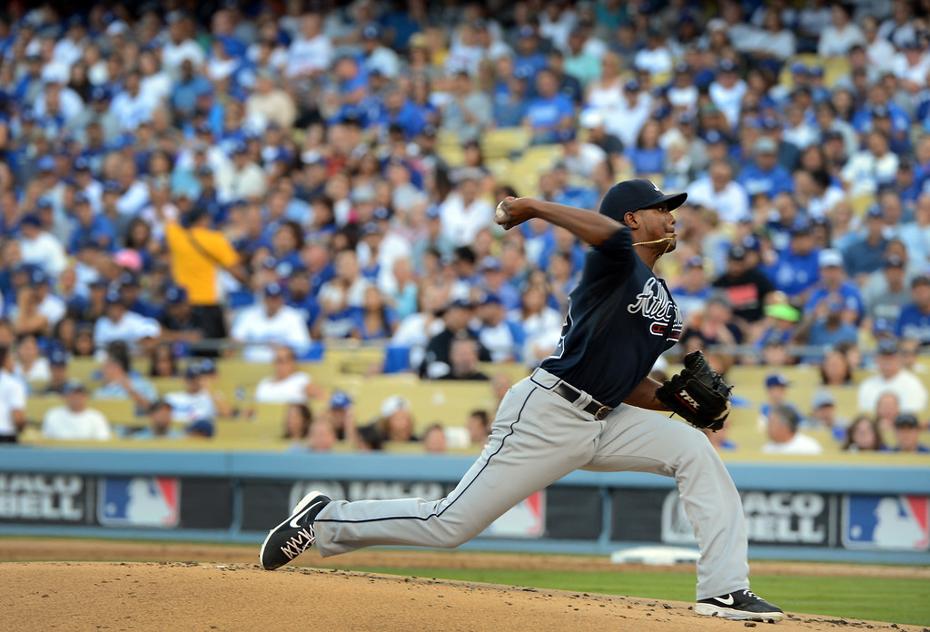 . Braves pitcher Julio Teheran pitches in the first inning during game 3 of the NLDS at Dodger Stadium Sunday, October 6, 2013. (Photo by David Crane/Los Angeles Daily News)