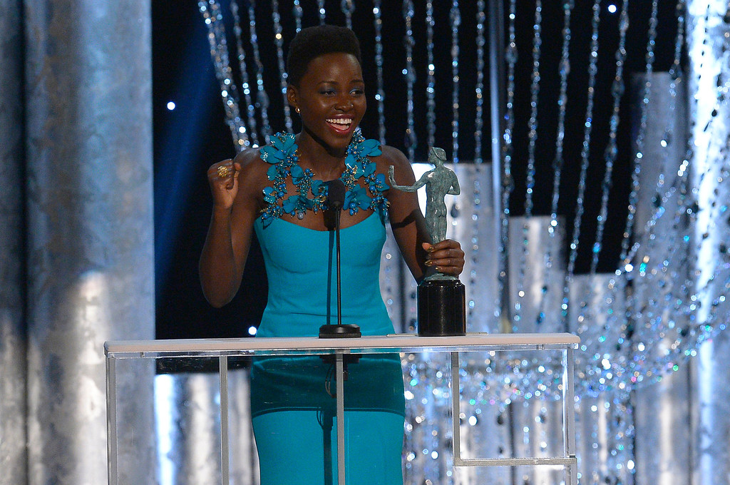 . Lupita Nyong�o, �12 Years a Slave� during the show of the 20th Annual Screen Actors Guild Awards  at the Shrine Auditorium in Los Angeles, California on Saturday January 18, 2014 (Photo by Andy Holzman / Los Angeles Daily News)