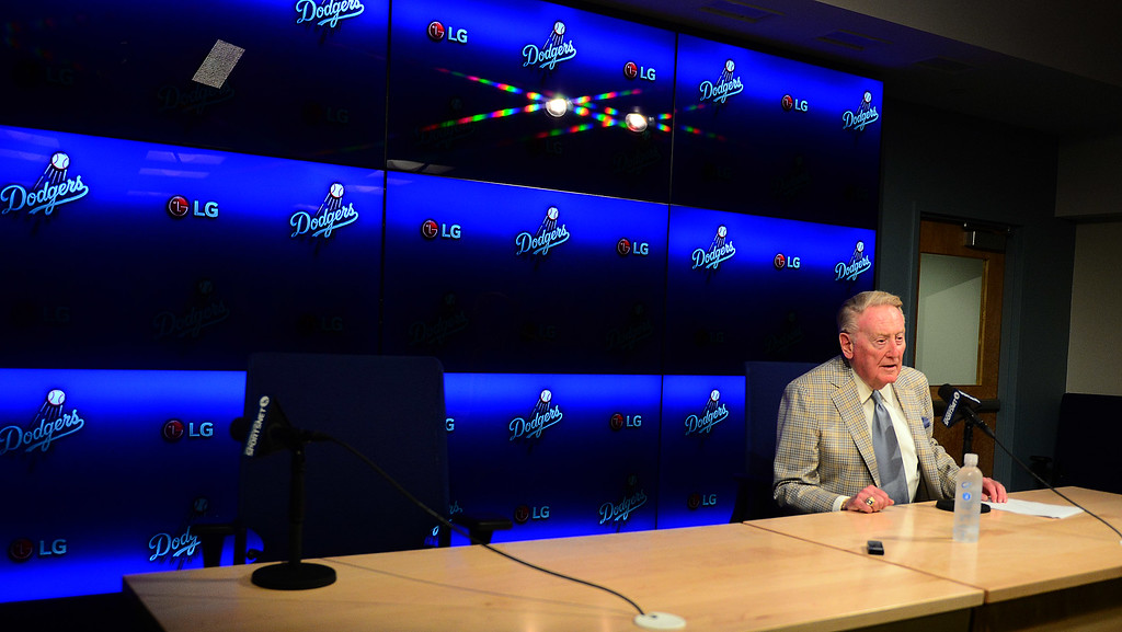 . Hall of Fame announcer, 87 year-old Vin Scully talks about his reason to comeback for his 67th and possible final season during a press conference prior to a Major League Baseball game on Saturday, Aug. 29, 2015 in Los Angeles.  (Photo by Keith Birmingham/ Pasadena Star-News)