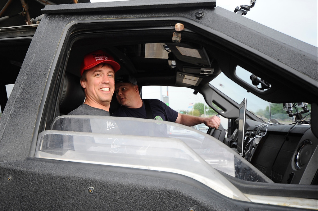 . April 27,2014. Saillisaw OK. USA. Meteorologist and Extreme Storm Chaser Reed Timmer with his 3 storm chase cars called the Dominators, get ready to chase some tornados. (Photo by Gene Blevins/LA DailyNews