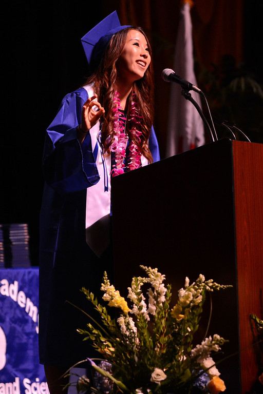 . Long Beach, Calif., -- 06-12-13- California Academy of Math and Sciences  Associated Student Body President  Minji Kim delivers the message for the class of 2013 in the Millikan High School Auditorium Wednesday June 12, 2013.     Stephen Carr/  Los Angeles Newspaper Group