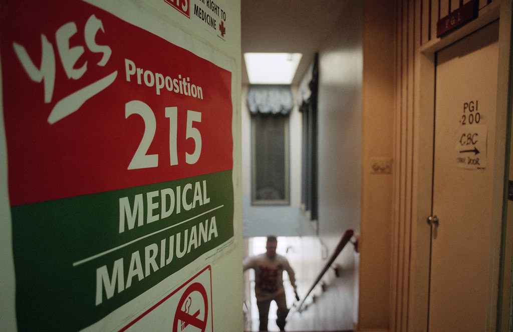 . A staff member of the Cannabis Buyers Club walks up the stairs to the club in the Hollywood section of Los Angeles on election eve on Tuesday, Nov. 5, 1995 in Los Angeles. One of the propositions voters in California will decide on is whether to legalize marijuana for medical purposes. The Cannabis Buyers Club sells marijuana to patients who can prove, with a doctor?s prescription, that they need the product for certain medical reasons. (AP Photo/Rene Macura)