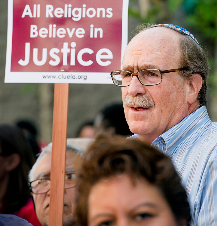 . Rabbi Marc Steven Dworkin prior to speaking at the rally.  The Coalition for Humane Immigrant Rights of Los Angeles (CHIRLA) joined area organizations and coalitions to march in honor of worker contributions and denounce deportations of undocumented immigrants living in the United States May 1, 2014.   (Staff photo by Leo Jarzomb/San Gabriel Valley Tribune)