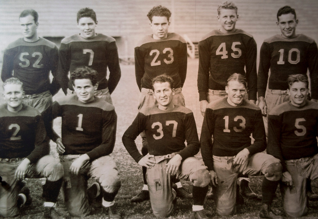 . A photo of Richard Nixon, top center,  on the Whittier College football team is on display as part of the Richard Nixon Centennial Exhibit that opened at the Richard Nixon Presidential Library in Yorba Linda.  Items in the exhibit are pictured Feb. 13, 2013.   (SGVN/Staff photo by Leo Jarzomb)