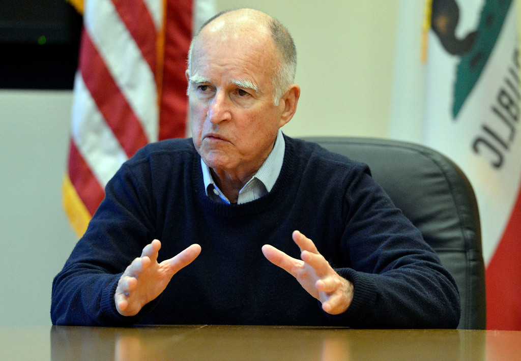 . California Governor Jerry Brown speaks with members of the media Tuesday January 14, 2014 at the Riverside County Office of Education. (Will Lester/Inland Valley Daily Bulletin)