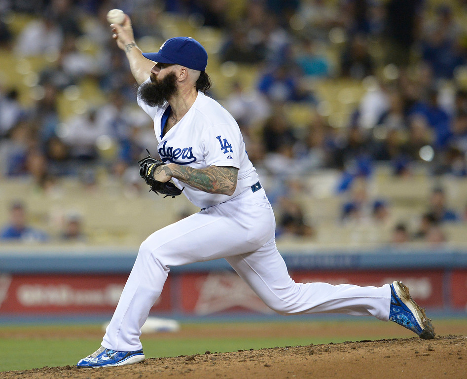. Brian Wilson on the mound. The Dodgers defeated the Colorado Rockies at 4-2 Dodger Stadium in Los Angeles, CA. 6/18/2014(Photo by John McCoy Daily News)