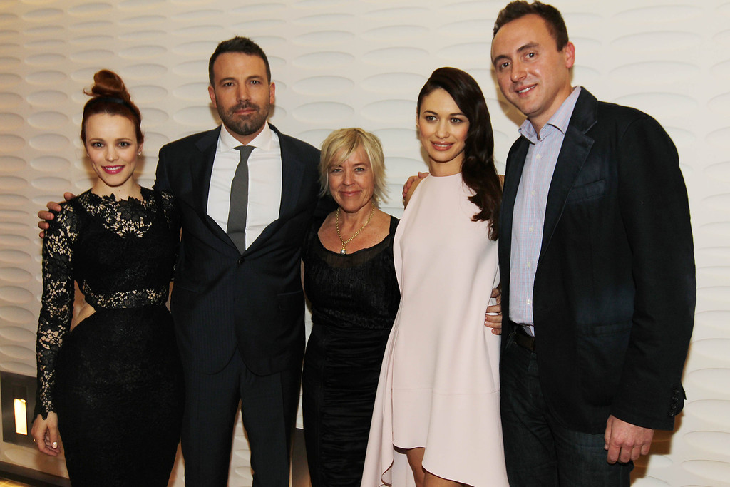 """. From left, Rachel McAdams, Ben Affleck, Sarah Green, Olga Kurylenko, and Nicolas Gonda pose together at the premiere of \""""To The Wonder\"""" hosted by FIJI Water on Tuesday, April 9, 2013 in Los Angeles. (Photo by Matt Sayles/Invision for Fiji Water/AP Images)"""