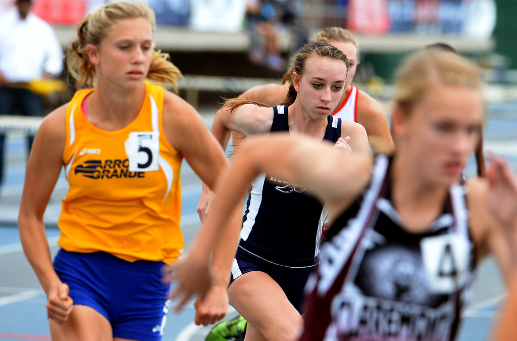. Redlands\'s Claire Crowley, center, competes in the division 2 800 meters race during the CIF Southern Section track and final Championships at Cerritos College in Norwalk, Calif., Saturday, May 24, 2014. 