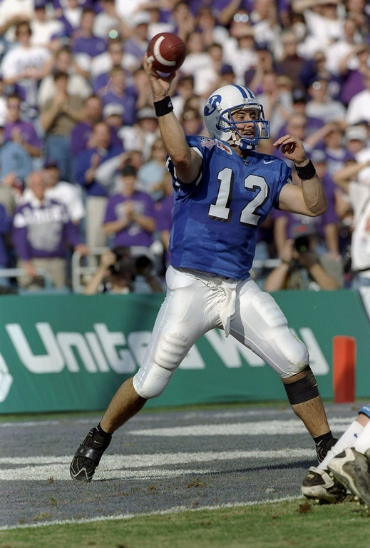 . 1 Jan 1997:  Quarterback Steve Sarkisian of the Brigham Young Cougars passes the ball during the Cotton Bowl against the Kansas State Wildcats at the Cotton Bowl in Dallas, Texas.  BYU won the game, 19-15. Mandatory Credit: Stephen Dunn  /Allsport