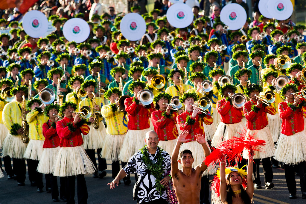 . Hawai\'i All State Marching band Na Koa Ali\'i during 2014 Rose Parade in Pasadena, Calif. on January 1, 2014. (Staff photo by Leo Jarzomb/ Pasadena Star-News)