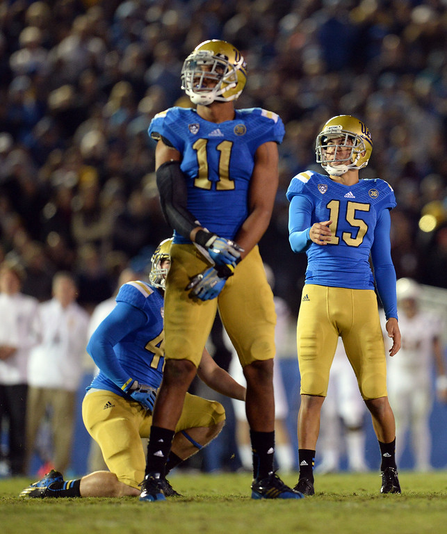 . UCLA�s Ka\'imi Fairbairn #15 watches his 38 yard field goal attempt miss in the 4th quarter during their game against Arizona State at the Rose Bowl Saturday November 23, 2013. Arizona State beat UCLA 38-33. (Photos by Hans Gutknecht/Los Angeles Daily News)