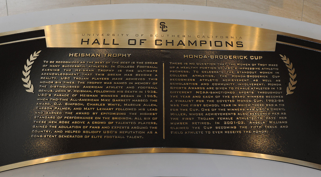 . Heritage Hall, which houses USC\'s athletic department, has been closed for the past year while undergoing a $35-million renovation.  The building first opened in 1971 at a cost of $2.8 million and was originally 48,000 square feet. It now is 80,000 square feet. As part of the renovation, Heritage Hall\'s two-story lobby has been transformed into a state-of-the-art museum space featuring interactive displays. Heritage Hall also includes a sports performance center, a broadcast studio, a lounge for Women of Troy student-athletes, a rowing ergometer room and an indoor golf driving area, plus new locker rooms, meeting rooms, equipment room and event space.   Los Angeles , CA. January 30, 2014 (Photo by John McCoy / Los Angeles Daily News)