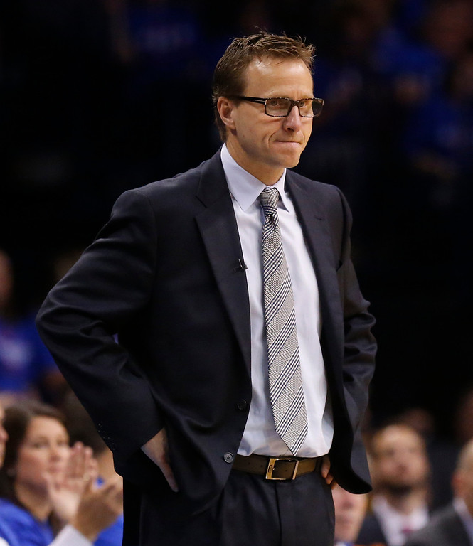 . Oklahoma City Thunder head coach Scott Brooks looks on in the third quarter of Game 1 of the Western Conference semifinal NBA basketball playoff series against the Los Angeles Clippers in Oklahoma City, Monday, May 5, 2014. Los Angeles won 122-105. (AP Photo/Sue Ogrocki)