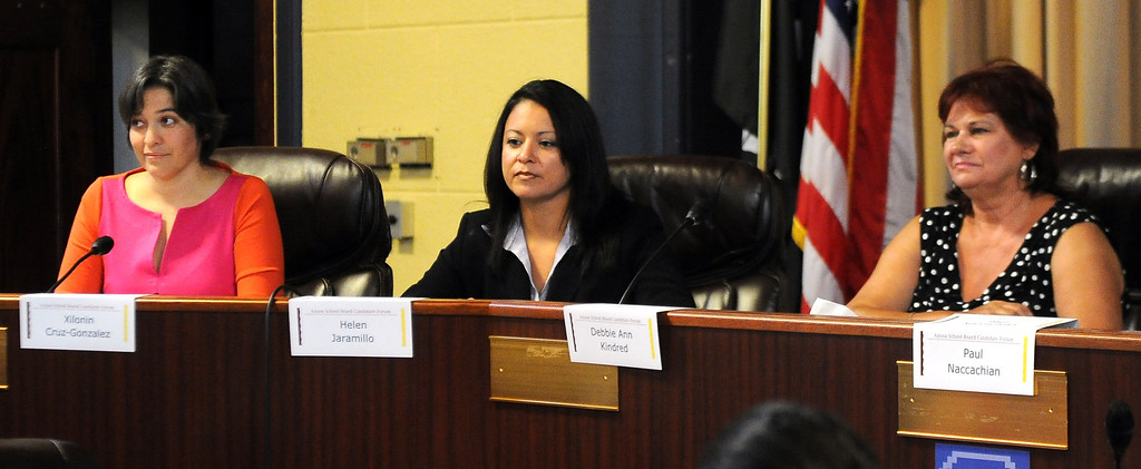 . Left to Right: Incumbant board member Xilonin Cruz-Gonzalez, candidates Helen Jaramillo, Debbie Kindred during a Azusa Unified School District candidate forum at Azusa Civic Auditorium on Tuesday, Aug. 13, 2013 in Azusa, Calif.   (Keith Birmingham/Pasadena Star-News)