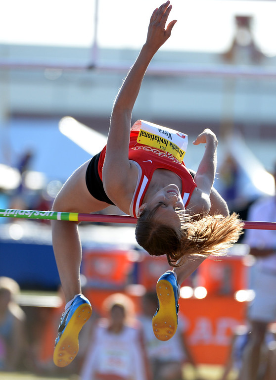 . Palm Desert\'s Susannah Vera in the high jump during the Arcadia Invitational track and field meet at Arcadia High School in Arcadia, Calif., on Friday, April 11, 2014.  (Keith Birmingham Pasadena Star-News)