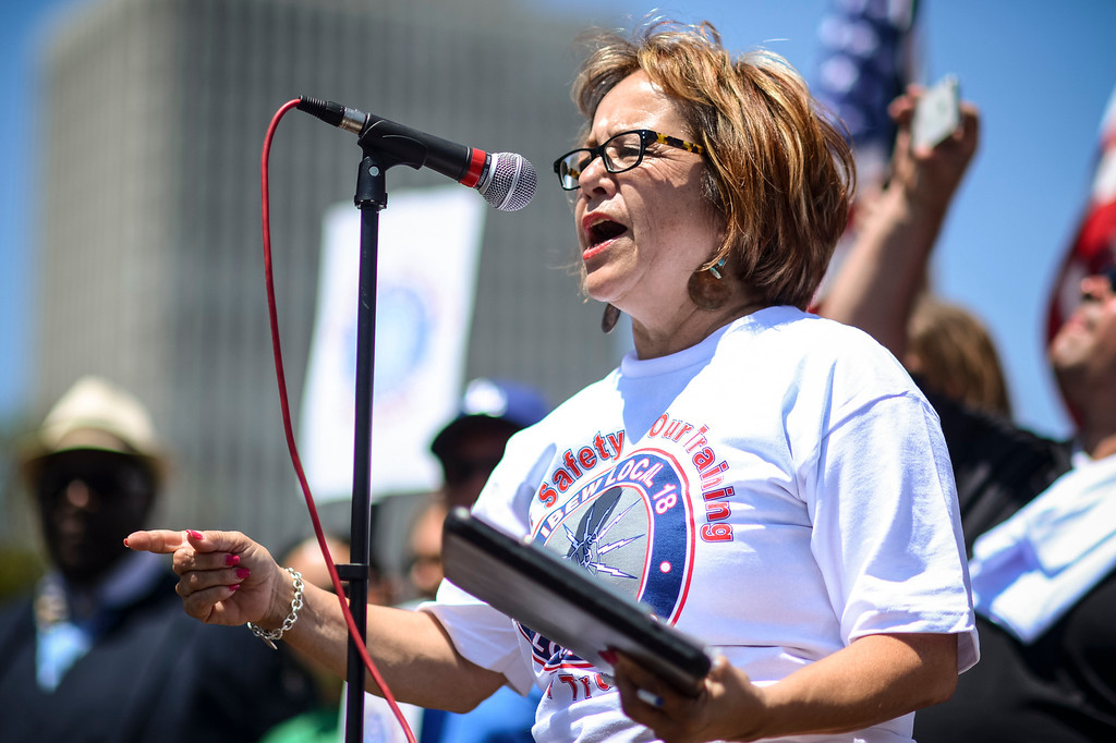. Maria Elena Durazo,  Executive Secretary-Treasurer for the LA County AFL-CIO speaks to Members of the IBEW which represents workers at the Los Angeles DWP rally in front of the DWP building in Los Angeles demanding that the DWP stick to it\'s contract offers.     (Photo by David Crane/Los Angeles Daily News)