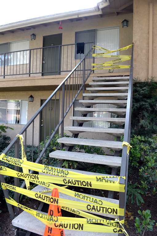 . Residents are displaced at an apartment building on the 2700-block of Associated Road in Fullerton on Saturday March 29, 2014 after the 5.1 earthquake centered in La Habra. (Staff Photo by Keith Durflinger/Whittier Daily News)