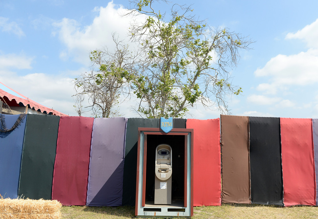 . Ye Olde ATM machine on opening day of the Renaissance Pleasure Faire at Santa Fe Dam Recreation Area in Irwindale, Calif., on Saturday, April 5, 2014.  (Keith Birmingham Pasadena Star-News)
