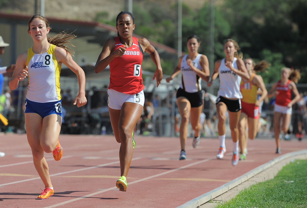 . Redondo\'s Amber Gore took second in the 800 meter Division 2 race of the CIF Southern Section Track and Field Championships Saturday at Mt. SAC. 20130518 Photo by Steve McCrank / Staff Photographer
