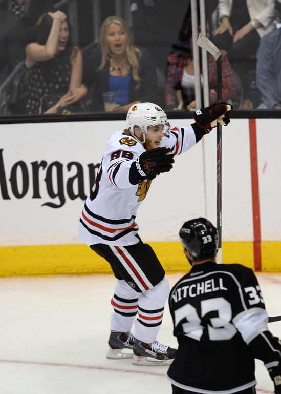 . Blackhawks�  Patrick Kane #88 celebrates his game winning goal in the third period during Game 6 of the Western Conference finals against the Kings at the Staples Center on Friday, May 30, 2014. The Blackhawks beat the Kings 4-3. (Photo by Hans Gutknecht/Los Angeles Daily News)
