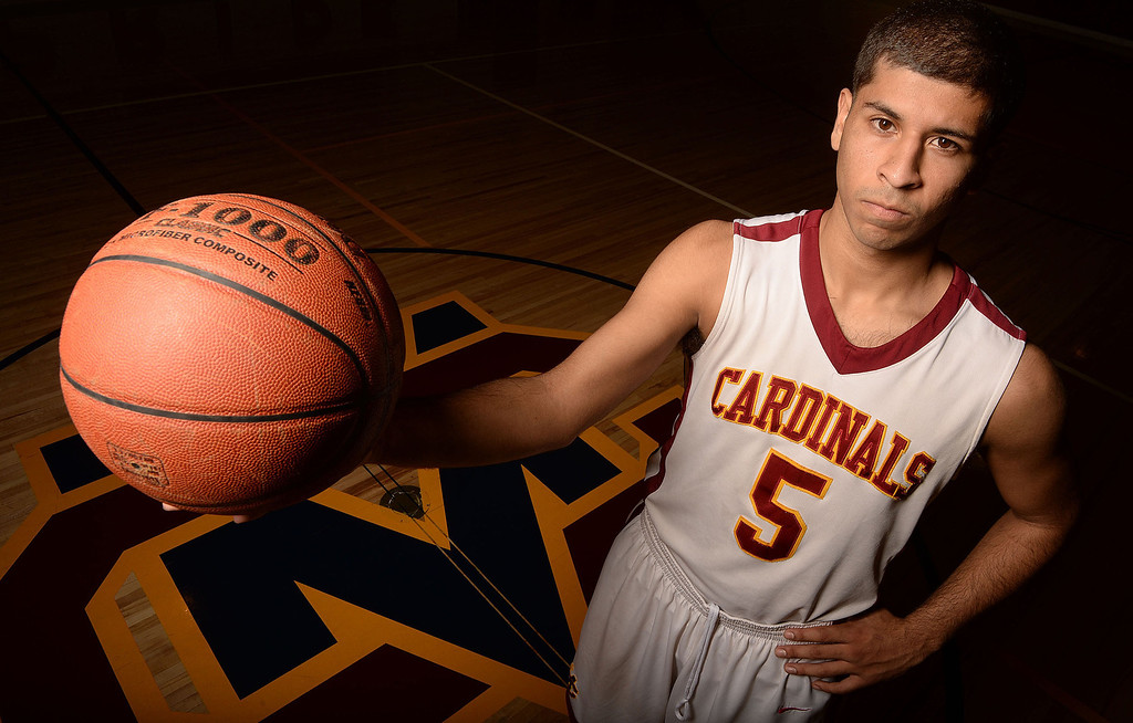 . Basketball All Area Player of the Year, Joey Covarrubias at Cantwell Sacred Heart High School in Montebello, Calif., on Wednesday, March 26, 2014.  (Keith Birmingham Pasadena Star-News)