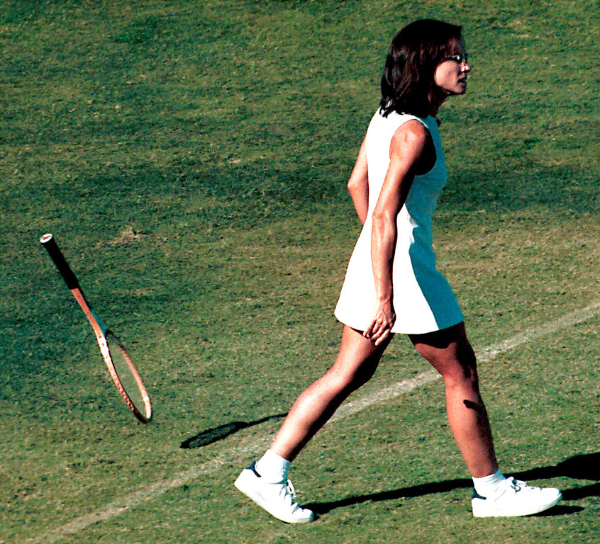 ". Actress Holly Hunter films a scene on the set of ""When Billie Beat Bobby\"" taken in March 2001 in Los Angeles, CA. The television movie is based on the historic 1973 tennis match between tennis champion Bobby Riggs and young feminist Billie Jean King. Hunter stars as Billie Jean King. (Photo by Peter Brandt/Getty Images)"