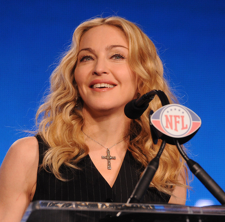 . INDIANAPOLIS, IN - FEBRUARY 2: Singer Madonna during the Bridgestone Super Bowl XLVI Halftime Show press conference at the JW Marriott, February 2, 2012 in Indianapolis, Indiana.(Photo by Frank Micelotta/Invsion/AP)