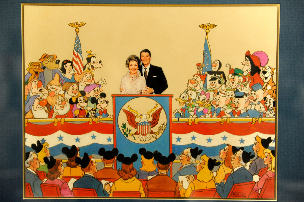 """. Acrylic and ink artwork by Bill Justice of President Reagan and Nancy Reagan at \""""press conference\"""" with Disney characters is on display at \""""D23 Presents Treasures of the Walt Disney Archives,\"""" at the Ronald Reagan Presidential Library and Museum in Simi Valley, Thursday, June 28, 2012.  (Michael Owen Baker/Los Angeles Daily News)"""