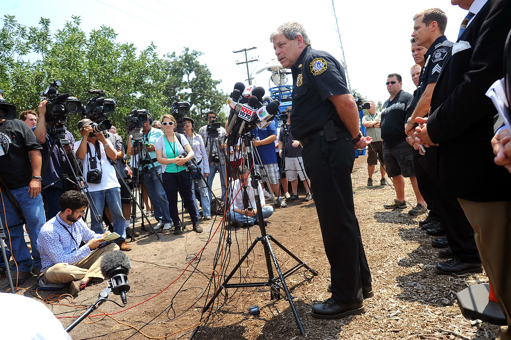 . Ventura County Fire Department\'s Mike LaPlant speaks during a news conference regarding the fireworks accident that injured 28 people at Rancho Santa Susana Community Park in Simi Valley, CA July 5, 2013.     (Andy Holzman/Los Angeles Daily News)
