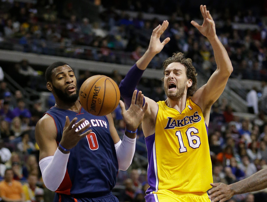 . Los Angeles Lakers center Pau Gasol (16), of Spain, is fouled by Detroit Pistons center Andre Drummond (0) during the second quarter of an NBA basketball game at the Palace in Auburn Hills, Mich., Friday, Nov. 29, 2013. (AP Photo/Carlos Osorio)