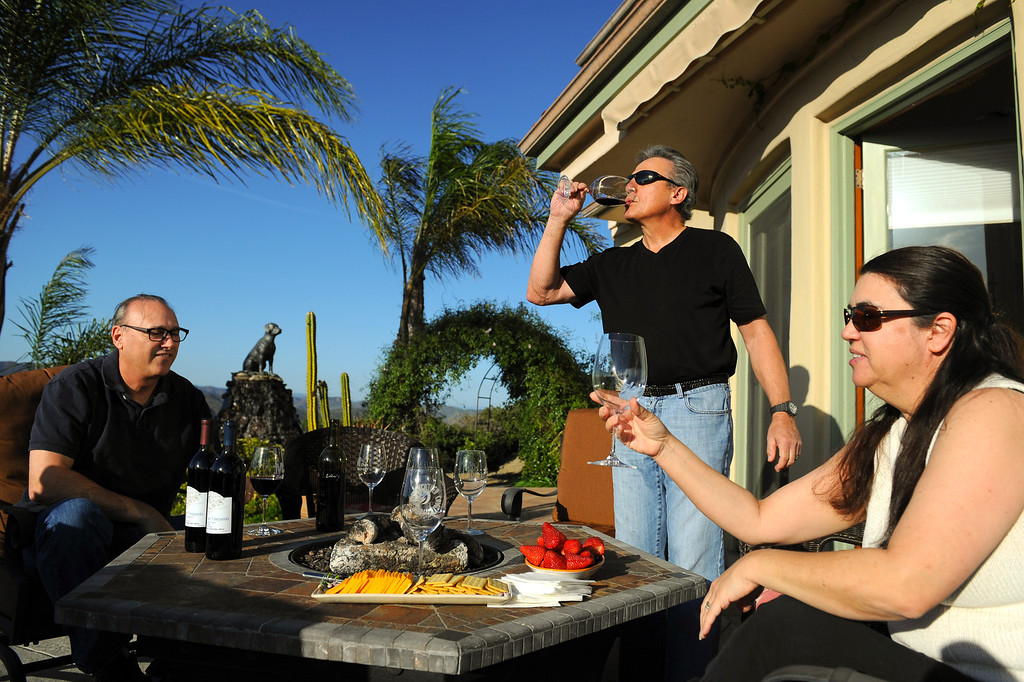 . Jeff Canter, left, Chet Schreiber and Suzy Mandel Canter sample their homemade wine at Schreiber\'s Westlake home, Thursday, April 24, 2014. (Photo by Michael Owen Baker/L.A. Daily News)