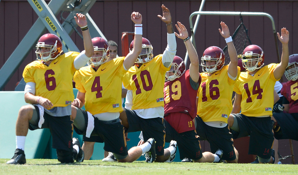. Players stretch at the start of practice. Football is in full swing on the Howard Jones Field at USC. Los Angeles, CA. 8/6/2014(Photo by John McCoy Daily News)