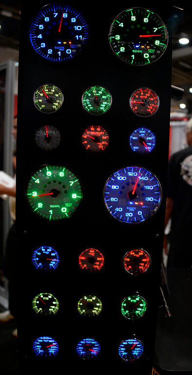 . Nov 6,2013 Las Vegas NV. USA. Custom lighting gages on display by Auto Meter, during the second day of the 2013 SEMA auto show.