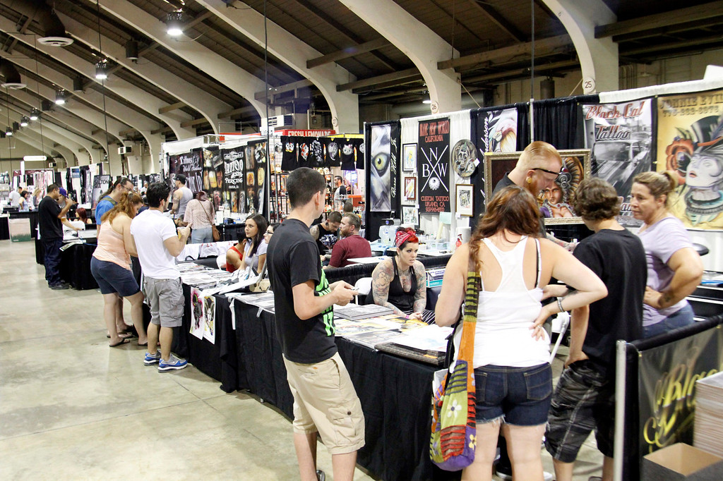 . (Correspondent Photo by James Carbone) The Tattoo and Body Art Expo, the world\'s largest tattoo expo, comprised of more than 300 tattoo artists and piercers, at the Pomona Fairplex, in Pomona, Saturday, July 11, 2013.