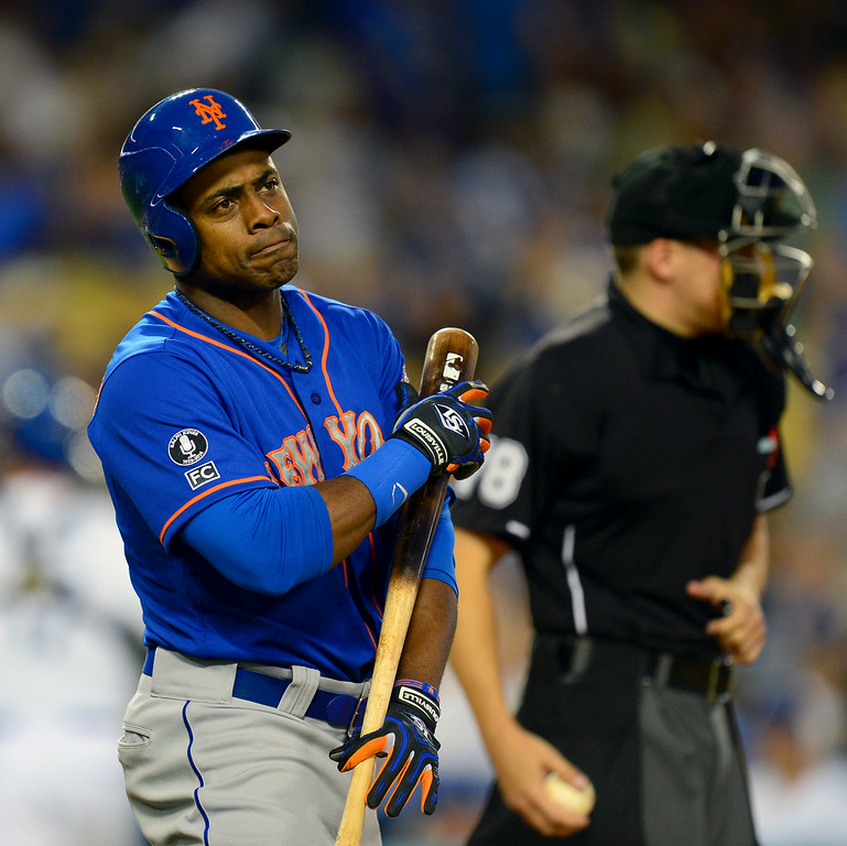 . The Mets\' Curtis Granderson reacts after striking out in the third inning. (Photo by Michael Owen Baker/Los Angeles Daily News)