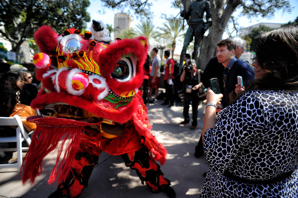 . Dancers perform during a Covered California rally on Olvera Street  to help kick off the final two weeks of health care enrollment through Covered California Thursday, March 13, 2014.  (Photo by Hans Gutknecht/Los Angeles Daily News)