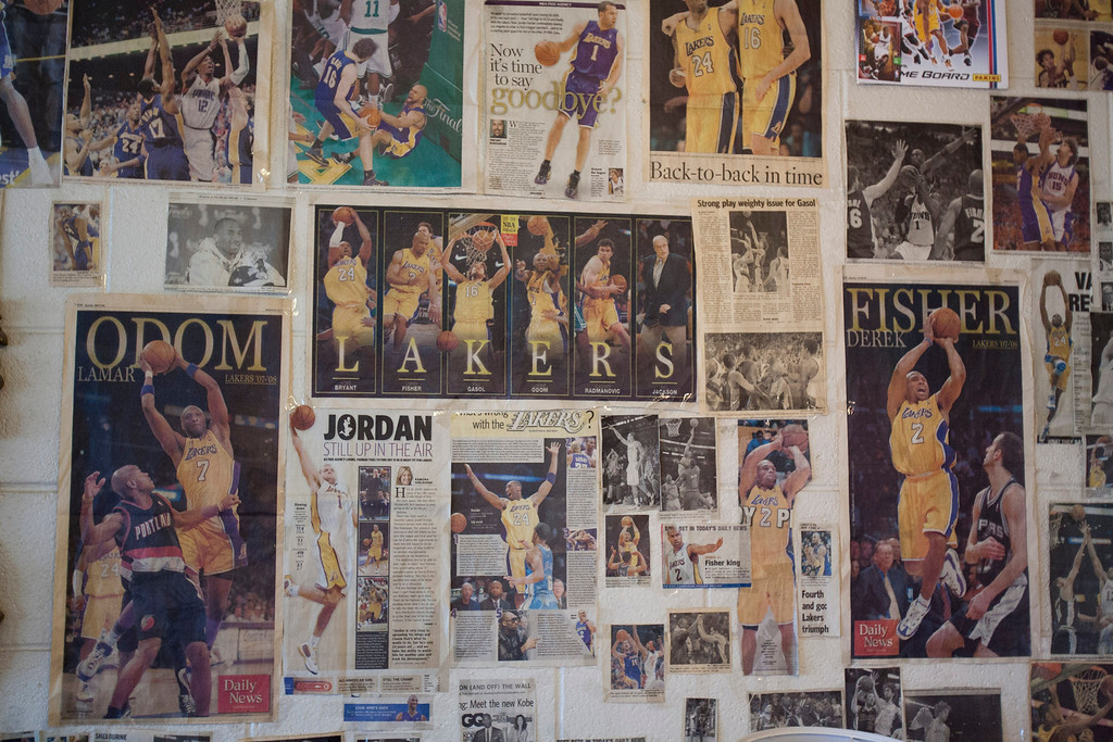 . A part of 105 Year-old Allene Wynn\'s Laker wall which covers her living room.   Photo by David Crane/Los Angeles Daily News.