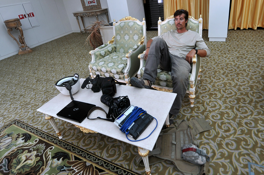 . A photo taken on September 29, 2011 shows US freelance reporter James Foley resting in a room at the airport of Sirte, Libya. Foley was kidnapped in war-torn Syria and has been missing since, his family revealed on January 2, 2013. Foley, 39, an experienced war reporter who has covered other conflicts, was seized by armed men in the town of Taftanaz in the northern province of Idlib on November 22, according to witnesses. The reporter contributed videos to Agence France-Presse (AFP) in recent months.          (ARIS MESSINIS/AFP/Getty Images)