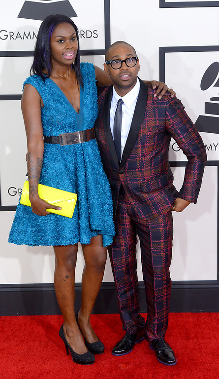 . PJ Morton and his wife arrive at the 56th Annual GRAMMY Awards at Staples Center in Los Angeles, California on Sunday January 26, 2014 (Photo by David Crane / Los Angeles Daily News)