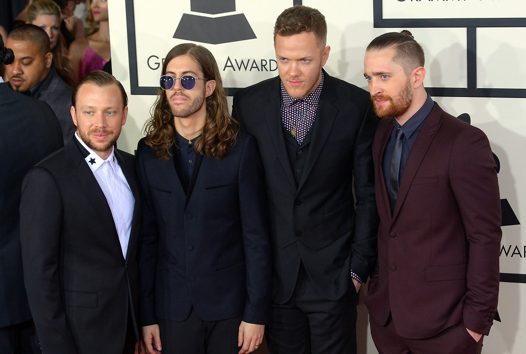 . Imagine Dragons arrive at the 56th Annual GRAMMY Awards at Staples Center in Los Angeles, California on Sunday January 26, 2014 (Photo by David Crane / Los Angeles Daily News)
