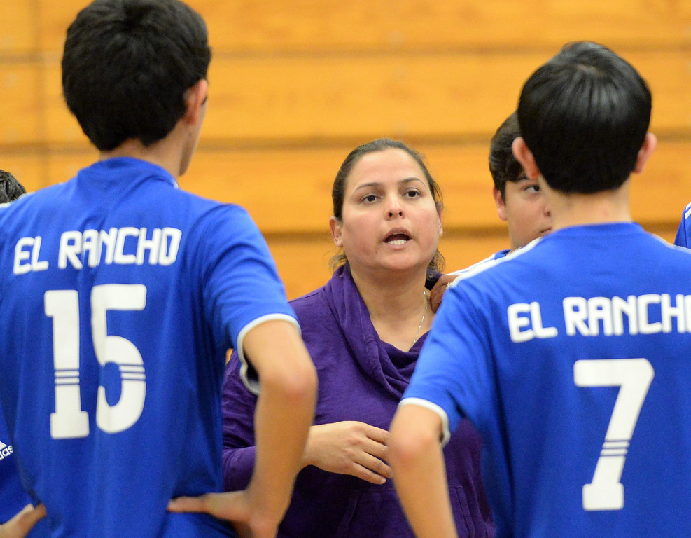 . El Rancho plays Bell Gardens in their non-league game at El Rancho High School in Pico Rivera on Friday March 28, 2014. Bell Gardens defeated El Rancho 3-2 games. (Staff Photo by Keith Durflinger/Whittier Daily News)