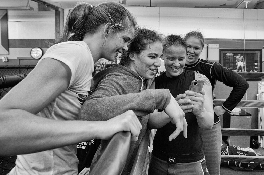 . 4 Horsewomen Jessamyn Duke, Marina Shafir, Shayna Baszler and Ronda Rousey watch a video of a wrestling skit they filmed. (Photo by Hans Gutknecht/Los Angeles Daily News)