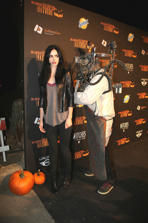 . An actor and Krysten Ritter at the 5th Annual Los Angeles Haunted Hayride Premiere Night on October 10, 2013.  The fifth year anniversary of the Los Angeles Haunted Hayride took Hayriders through scenes of actual hauntings.  The month-long event will once again take place in Griffith Park�s Old Zoo area, which has been home to murder, torture, paranormal activity, serial killers, and abduction. (Photos by Boris Issaei for the Los Angeles Daily News)