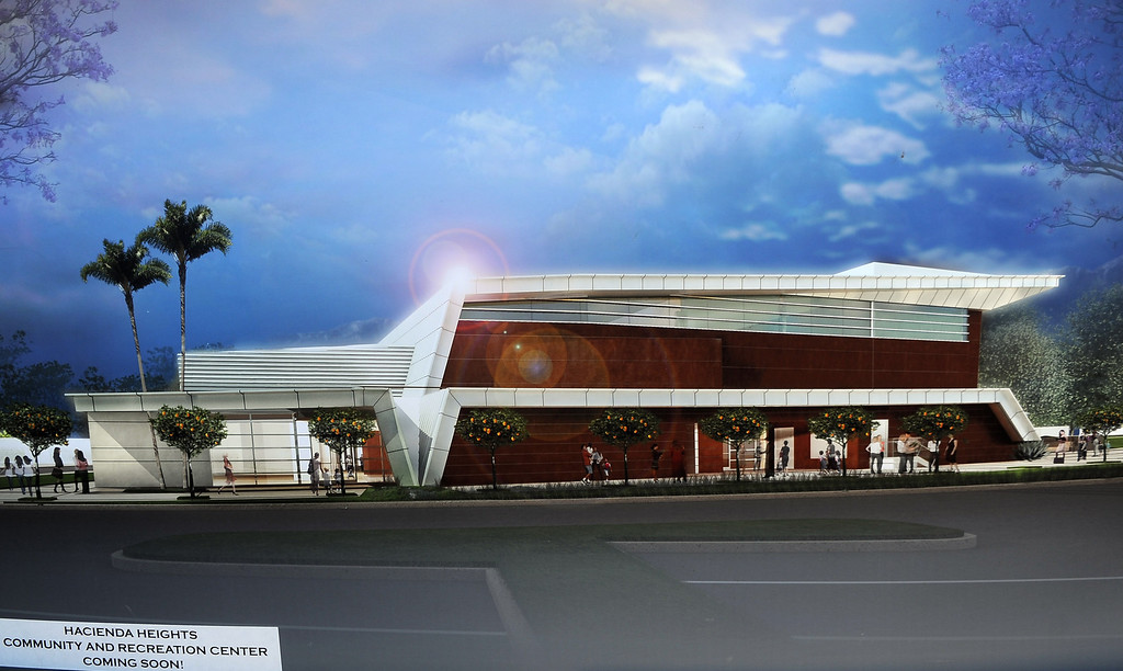 . Renderings of the new Hacienda Heights Community Center at the former site of Hillgrove School on Thursday, March 2, 2013 in Hacienda Heights, Calif.    (Keith Birmingham Pasadena Star-News)