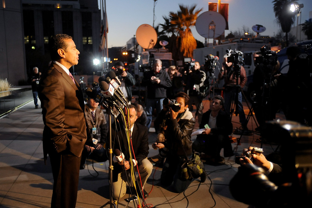 . Mayor Antonio Villaraigosa speaks to members of the media outside the Los Angeles Police Department Headquarters after a man believed to be Christopher Dorner was involved in a shootout near Big Bear, Ca Tuesday, February 12, 2013.(Andy Holzman/L.A. Daily News)