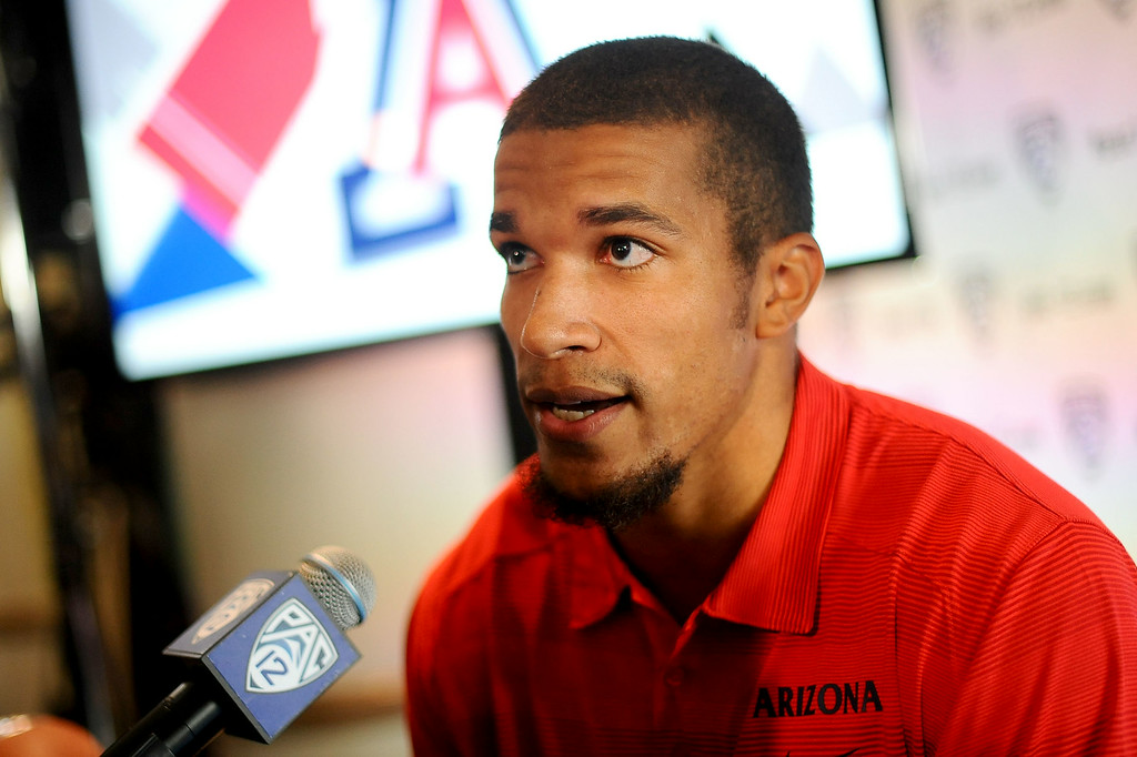. Arizona wide receiver Austin Hill attends the PAC-12 Football Media Day at the Paramount Theater in Los Angeles, Ca July 23, 2014.(Andy Holzman/Los Angeles Daily News)