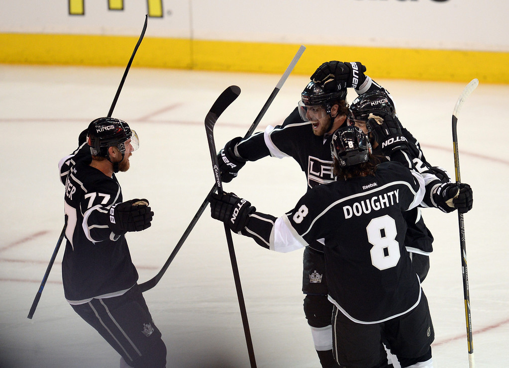 . Kings� celebrate a first period goal by Slava Voynov #26 during Game 3 of the Western Conference finals against the Blackhawks at the Staples Center on Saturday, May 24, 2014. (Photo by Hans Gutknecht/Los Angeles Daily News)