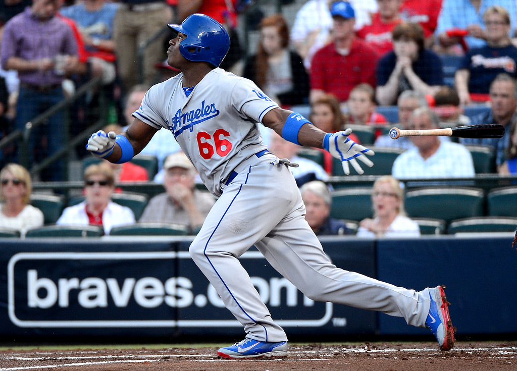 . Down runs Los Angeles Dodgers\' Yasiel Puig is up to bat as the Atlanta Braves defeat the Los Angeles Dodgers 4-3 in game 2 of the playoffs Thursday, October 4, 2013 at Turner Field in Atlanta, Georgia. (Photo by Sarah Reingewirtz/Pasadena Star- News)