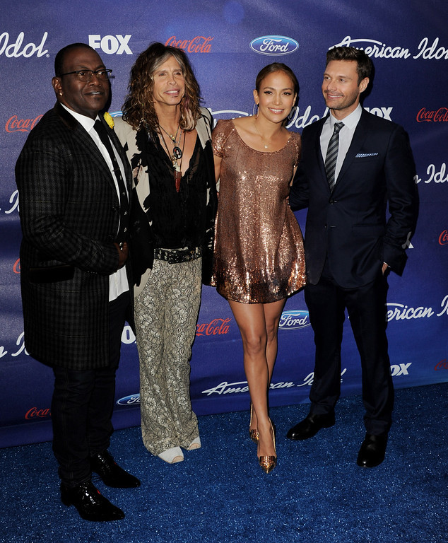 . LOS ANGELES, CA - MARCH 01:  American Idol judges Randy Jackson, Steven Tyler, Jennifer Lopez and host Ryan Seacrest arrive at Fox\'s American Idol finalist party at The Grove on March 1, 2012 in Los Angeles, California.  (Photo by Kevin Winter/Getty Images)